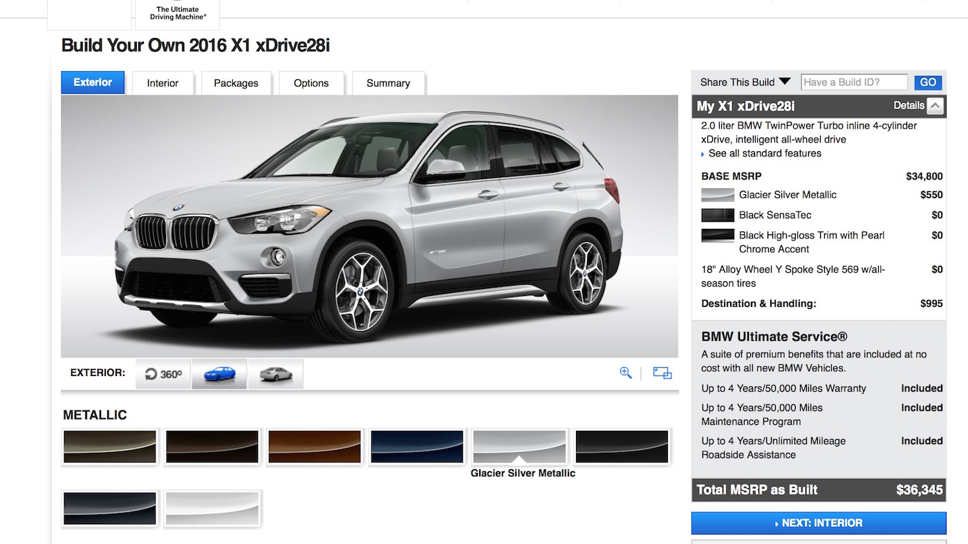 2016 Bmw X1 Xdrive28i Pricing Starts At 35 795 Configure